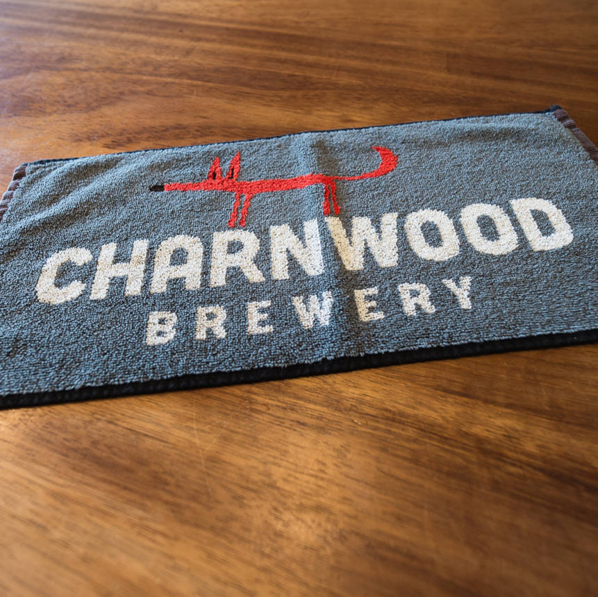 Charnwood Brewery Branded Bar Towel Featuring Clarence